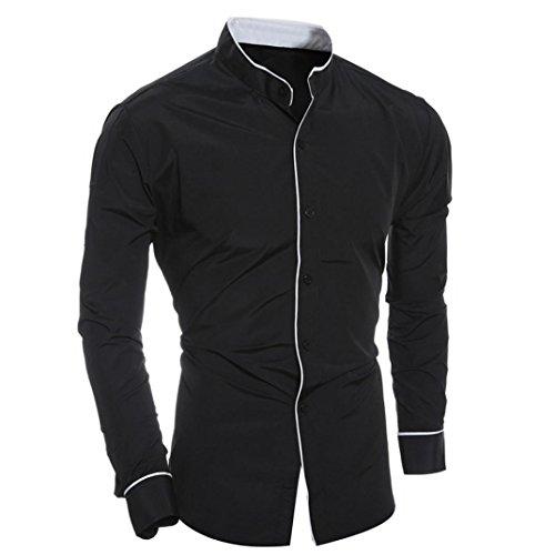Formale Shirt Schwarz (Herren Shirt Sonnena Long Sleeve Casual Fashion Persönlichkeit Slim Top Bluse)