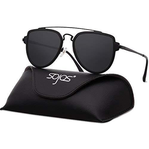 SOJOS Retro Doppelte Metallbrücken Polarized Linse Sonnenbrille für Herren Damen SJ1051 mit Schwarz Rahmen/Grau Polarized Linse mit Lederbox