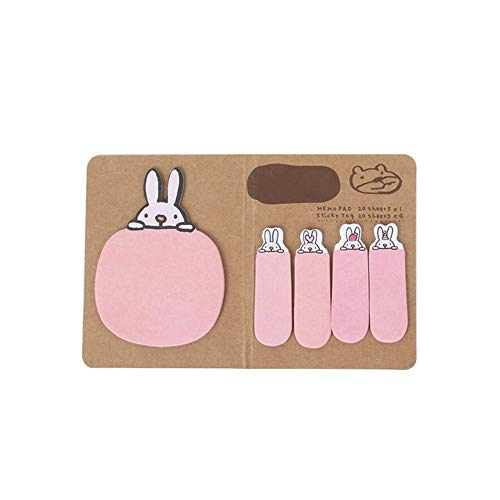 TONVER - Foglietti adesivi, personalizzabili, a forma di animale, per scuola e ufficio 14*9cm rosa