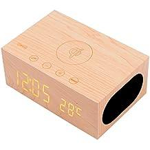 YOUMI multi-funciones cargador inalámbrico estéreo de altavoces de madera cargador NFC altavoz inalámbrico Bluetooth Qi cargador + alarma + tiempo de la temperatura, compatible con Samsung S7 S7 Edge Google Nexus 7 6 Otros dispositivos habilitados para Qi LED, de 3,5 mm de audio para el ordenador portátil Reproductor MP4 PC de escritorio, reloj despertador con snooze temperatura del termómetro en el micrófono para manos botones de control de llamada gratis para la oficina coche casa(Yellow)