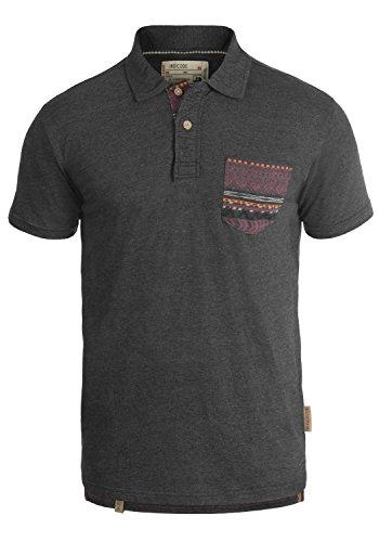 Indicode Alastair Herren Poloshirt T-Shirt Kurzarm mit Polokragen Aus Hochwertiger Baumwollmischung Charcoal Mix