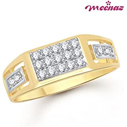 Meenaz Jewellery Gold Plated Rings For Men in American Diamond CZ Boys Gents Ring Jewellery For Men -Finger Ring 352
