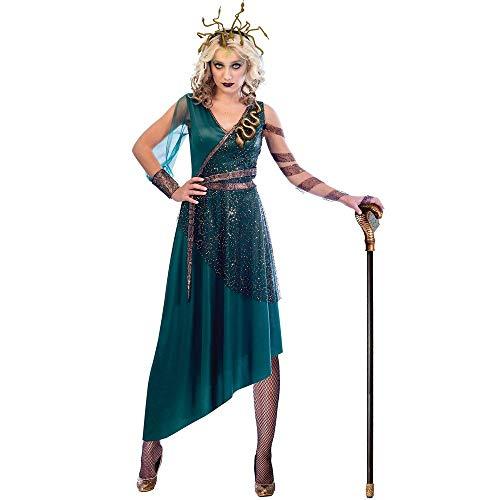 Damen Griechische Kostüm Für - shoperama Damen Kostüm Medusa Kleid und Haarreif mit Schlangen griechische Göttin Mythologie, Größe:S - 34/36