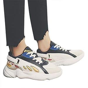 TianWlio Sneaker Damen Mode Beiläufige Schuhe Student Schnürschuhe Sportschuhe Atmungsaktiv Outdoorschuhe Laufschuhe Black Gray Blue 35-40