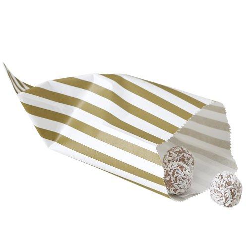 Ginger Ray sacchetti di caramelle in oro e avorio a righe X 25 - bags trattare Wedding / partito - candy