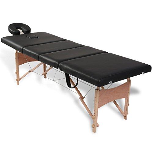 Festnight - lettino pieghevole portatile richuidibile da massaggio estetista blu 4 zone con telaio in legno piano in pelle artificiale/ecopelle 186 x 68 cm