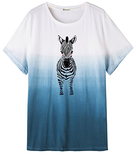 So'each Women's Donkey Graphic Animal Blue Dip-Dyed Top Graphic Tee T-Shirt (Donkey Light T-shirt)