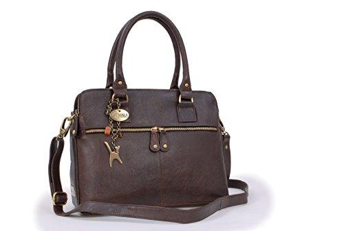 Große Schultertragetasche Shopper Tote Victoria von Catwalk Collection - Braun