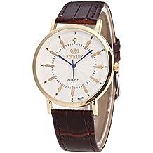 Men Watch Round Steel Case Leather Quartz Analog Wrist Watch Brown Reloj automatico Kanpola