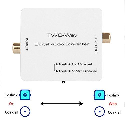 AMANKA Coaxial a Óptico Toslink SPDIF Convertidor Audio Digital 2-Way Audio Adaptador Convertidor Soporte DTS/Dolby-AC3 con Cable USB para PS4 Receptor de Satélite Xbox BLU-Ray HD TV