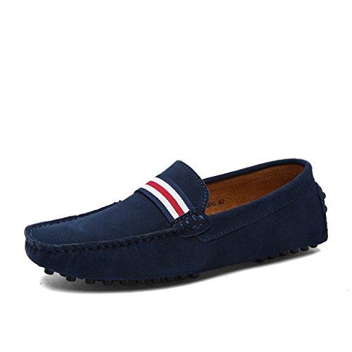 Eagsouni® Herren Mokassin Bootsschuhe Wildleder Loafers Schuhe Flache Fahren Halbschuhe Slippers Blau