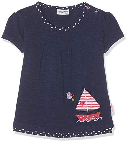 SALT AND PEPPER SALT AND PEPPER Baby-Mädchen T-Shirt B Meer Uni Stick Boot, Blau (Navy 455) 68