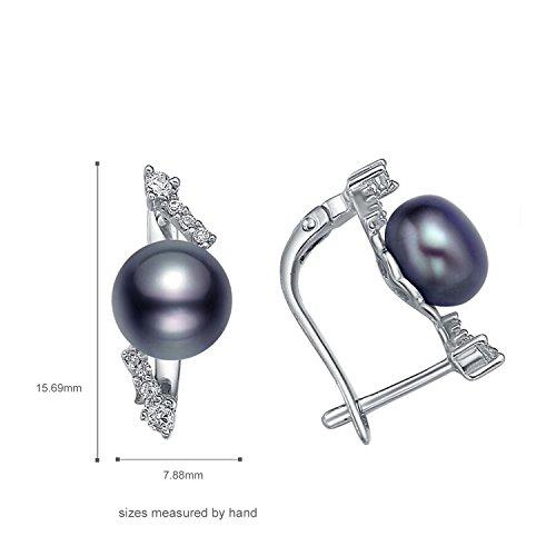 starharvest en argent sterling 925perle de culture d'eau douce Noir Rhodium Pendentif Boucles d'oreilles Bague Earrings