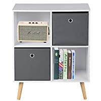 ASUUNY White Sideboard, Open Side Cabinet 4 Cubes with 2 Drawers, Wooden Storage Cupboard Bedroom Living Room Bedside Cabinet, 23.6 X 11 X 29.5 Inch