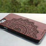 Legno iPhone 6/6S custodia-Coco laser intaglio in legno legno di cover in policarbonato resistente bumper Slim copre custodia per Apple iPhone 6S, iPhone 6(11,9cm) - -