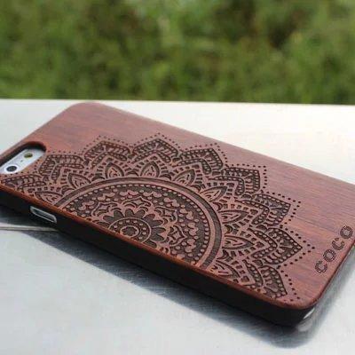 Holz iPhone 6/6S Fall-Coco Laser Carving markiert Holz Fall Schutzhülle mit robustem Polycarbonat Bumper Slim, die Schutzhülle für Apple iPhone 6S, iPhone 6(11,9cm) - - (Fall Air Ipad Robuste 2)