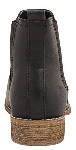 Elara Chelsea Boots | Bequeme Damen Stiefeletten | Lederoptik Blockabsatz |chunkyrayan Schwarz Paris