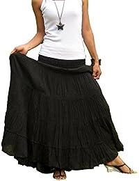 BTS Pantalón Largo de Algodón Maxi Falda con fruncido elástico ... 5bb9cfd2aab