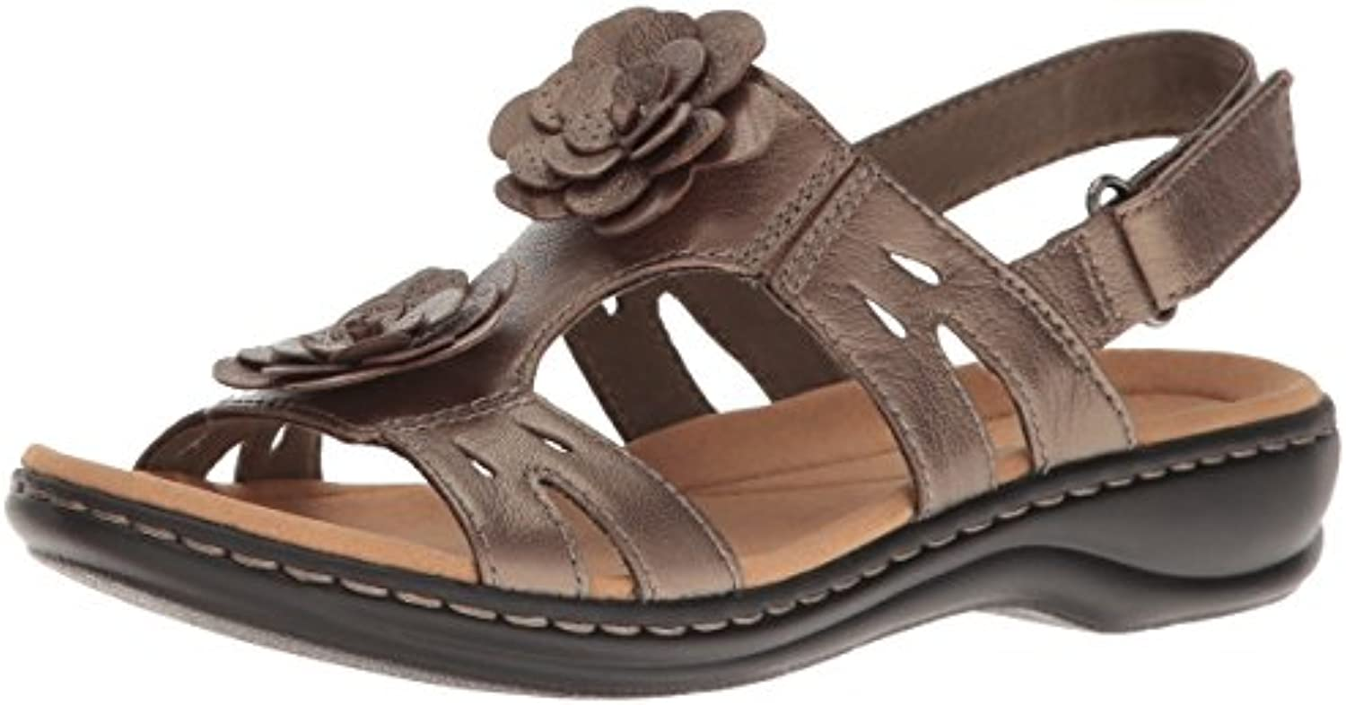 Clarks Wouomo Leisa Claytin Flat Sandal, Pewter Pewter Pewter Metallic Leather, 10 M US | Sito Ufficiale