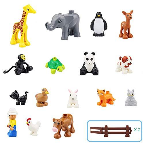 MORETRY Zoo Tiere Bauernhof Bausteine Zubehör Spielzeug Set für Kinder kompatibel mit Duplo , 18 Stück