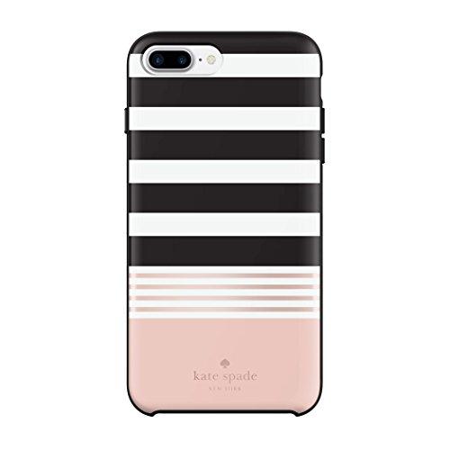 Kate Spade New York Hardshell Case Schutzhülle für Apple iPhone 7 Plus / 8 Plus - schwarz/weiß/rose [Hochglanz Design | Goldenes Logo | Hochwertige Materialien] - KSIPH-056-STBWR