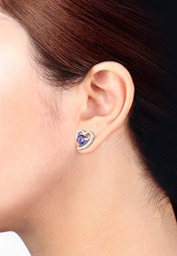 Elli - Boucles d'Oreilles Coeur - Argent 925 - Oxyde de Zirconium Violet