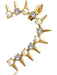 Spargz Spikes Gold Plated AD Stone With Pearl Ear Cuff (Left) For Women AIER 872