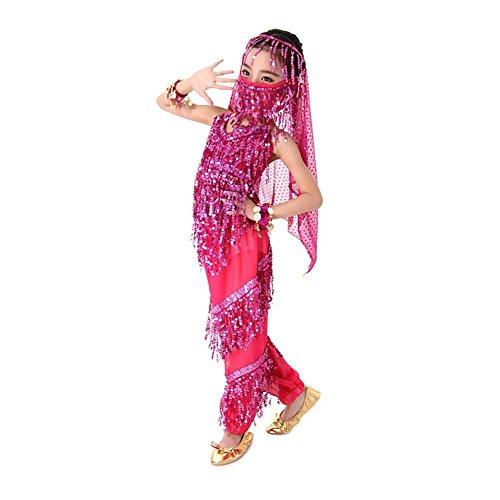 TQP-CK Kinder Kostüm Bauchtanz Mädchen Chiffon Halloween Kostüm Set Top + Hose + Kopfstück + Armband + Gesichts-Schleier (Jasmin Halloween Kostüme Für Kinder)