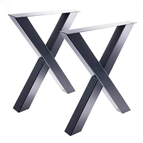 Bentatec 2 x Tischgestell in X Form schwarz Pulverbeschichtet -