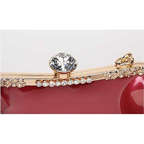 Donne Moda Borsa A Tracolla Pelle Verniciata Diamanti Sposa Matrimonio Borsetta Pink