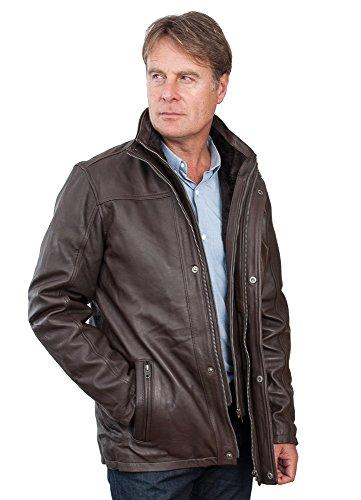 Männer von mittlerer Länge Klassische Warm Braun Lederjacke 4XL