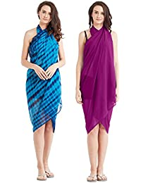 SOURBH Women's Faux Georgette Beach Wear Wrap Combo of 2 Sarong Plain & Printed Pareo Swimsuit Cover up (S61C_Pink,Blue)