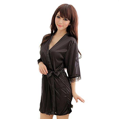 Dames Soie Sexy Dressing Gown Noir