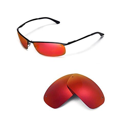 Walleva Ersatzgläser für Ray-Ban RB3183 63mm Sonnenbrille - Mehrfache Optionen (Feuerrot Mirror Coated - Polarisiert)