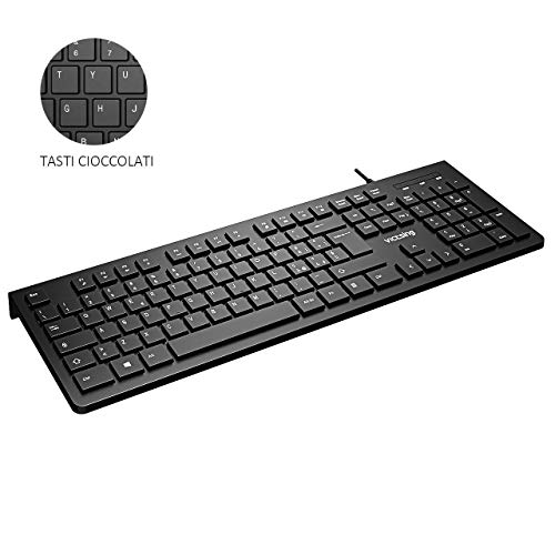 VicTsing VTPC206ABIT, Tastiera PC Italiana, Tastiera QWERTY USB, per Windows 10/8/7/Vista/XP, Mac, Linux, Casa e Ufficio, Nero