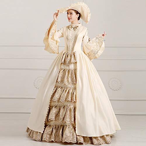 QAQBDBCKL Champagne Ruffled Stickerei Ballkleid Mittelalterlichen Kleid Renaissance-Kleid-Prinzessin Kostüm Victoria/Marie/Belle - Mädchen Belle Of The Ball Kostüm