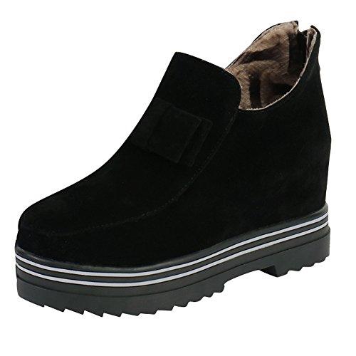 ae58ab22bbc6 Mee Shoes Damen warm gefüttert Schleife Geschlossen hidden heel Ankle Boots  Schwarz