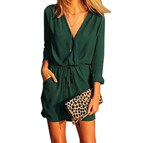 Reaso Femmes Été Col V Manche longue Mousseline de soie Robe de fête Décontractée Mini robe (S, Vert)