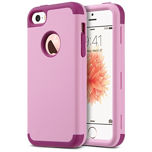 Ulak - cover iphone 5s - iphone se custodia ibrida a protezione integrale con parte esterna in 3 strati di morbido silicone e interno rigido cover per iphone se, iphone 5/5s (rosa + fucsia)