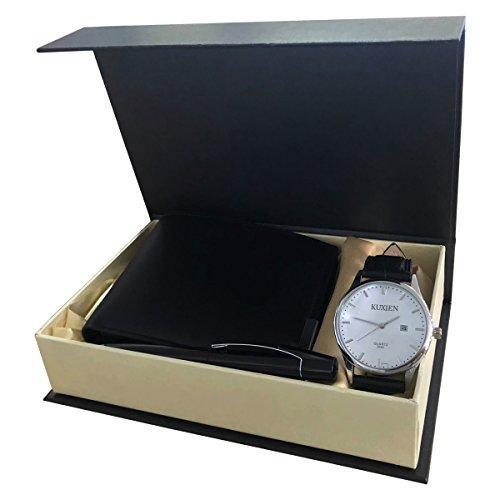 Uomini orologi kuxien uomo regalo set con orologio da polso, portafogli e firma penna per san valentino, natale, anniversario regalo