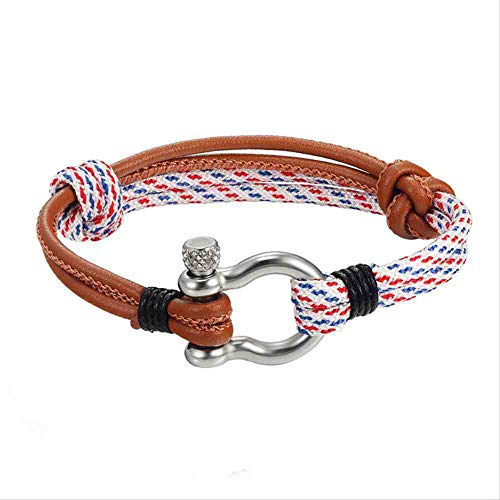 JYHW Endless August New Multilayer Navy Style Leather Braided Rope Stainless Steel Buckles Survival Bracelet for Men Women pulserasCoffee White,Coffee White