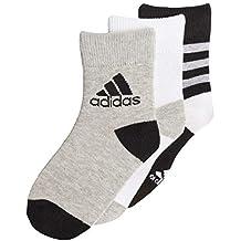 adidas Ankle S 3 Pair Pack Calcetines, Infantil, Negro, Blanco y Gris,