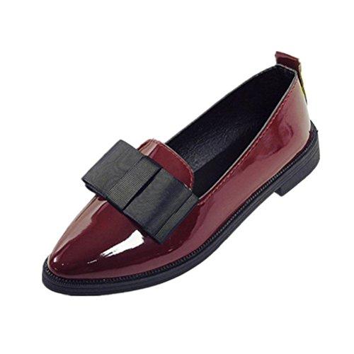 DOLDOA Damen bekleidung Damen schuhe,DOLDOA Pointed Toe Stiefel Niedriger Blockabsatz Stiefel Mit Bowknot Gr.34-39 (EU: 34, Weinrot,Pointed Toe Stiefe Mit Bowknot) (Boot Mini Wedge)