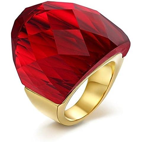 Alimab Gioielli Donne Anelli Acciaio Inossidabile Dimensioni Super Rosso Cristallo