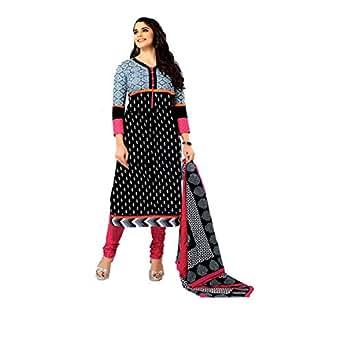 Vaamsi Women's Salwar Suit Dress Material (Lawn1018_Black_Free Size)