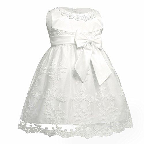 iiniim Baby Mädchen Prinzessin Kleid Blumenmädchenkleid Taufkleid Festlich Kleid Hochzeit Partykleid Festzug Babybekleidung Gr. 68-92 Ivory 68-74 / 6-9 Monate - 2