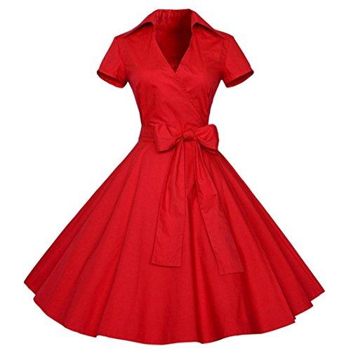 Rétro Vintage Robe Années 50 's Style Audrey Hepburn Rockabilly Swing,Plissé Robe de Soirée Cocktail Cérémonie pour Mariage Robe de Bal à Manches Courtes Grande Ceinture d'arc (Rouge, L)