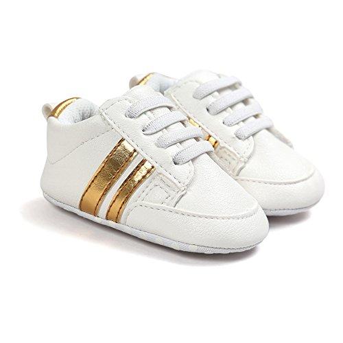 Itaar, Scarpe primi passi bambini White + Gold Stripe 12 - 18 mesi White + Gold Stripe