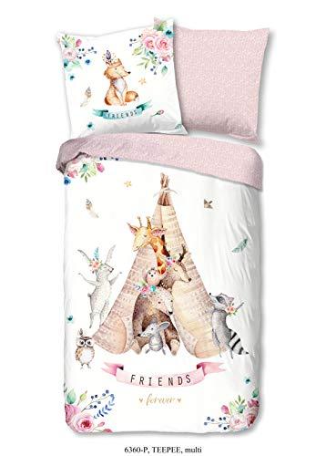 Aminata Kids - Kinder-Bettwäsche-Set für Mädchen rosa Weiss 135-x-200 cm Indianer-Zelt Tier-e 100% Baumwolle Reißverschluss Giraffe & REH im Indianer-Zelt mit Blumen (Kinderzimmer-bettwäsche-set Mädchen)