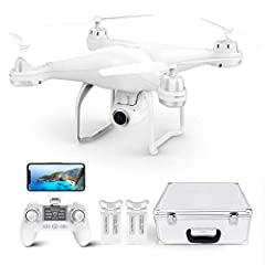 Idea Regalo - Potensic Drone GPS Professionale T25 FPV con Telecamera 120 ° Grandangolo Regolabile HD 1080P Dual GPS Fotocamera Seguimi RTH con Telecomando, Due Batterie, Valigetta